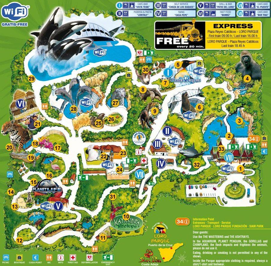 Mapa areálu Loro Park na Kanárském ostrově Tenerife