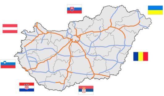 Napojení dálniční sítě v Maďarsku na okolní státy