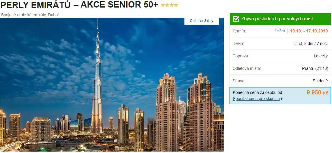 Spojené arabské emiráty akce senior do Perly Emirátů Dubaj levně v říjnu