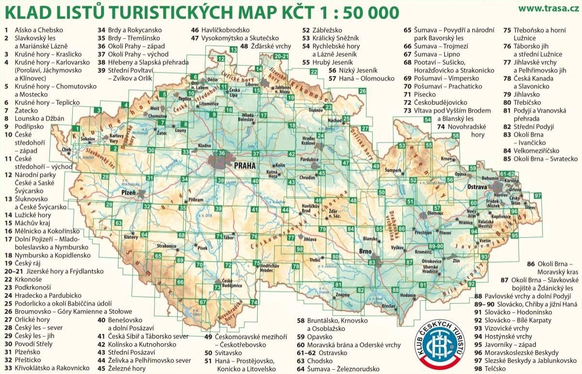 Turistická mapa České republiky dle Klubu českých turistů