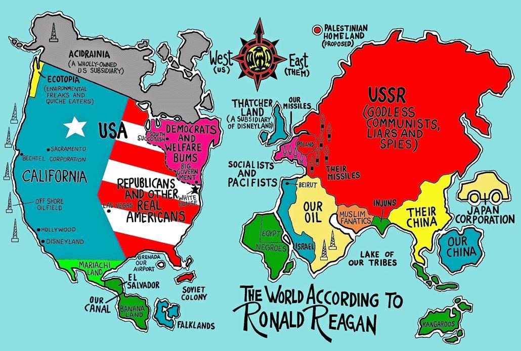 Vtipná mapa světa a států dle USA