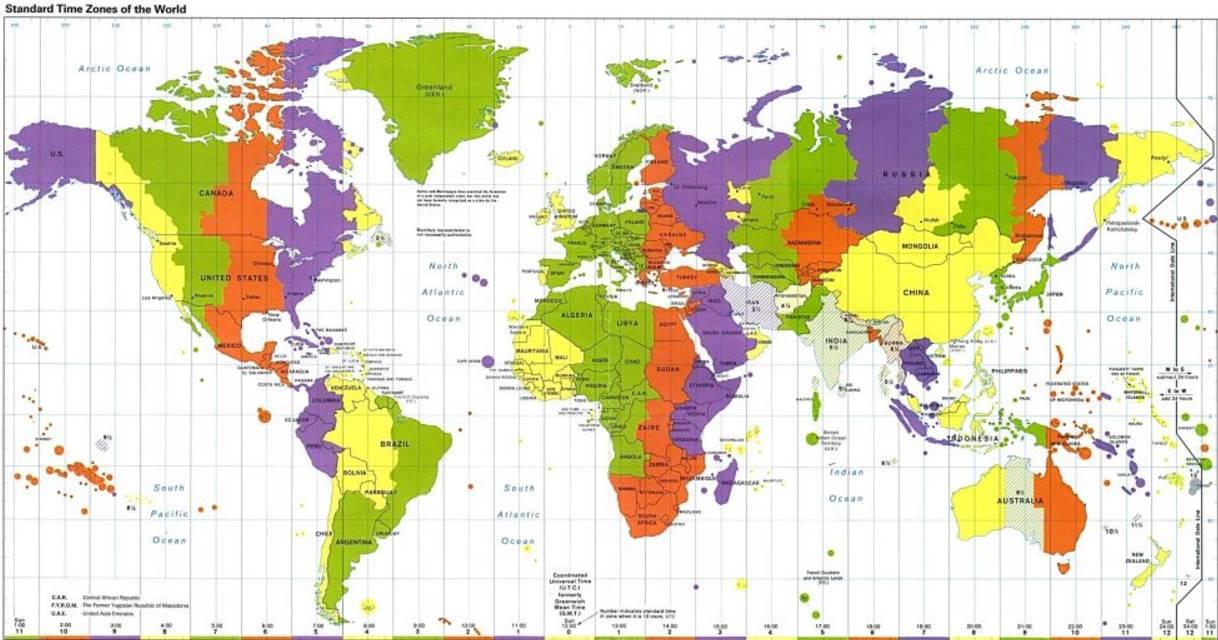 Časová pásma na mapě rozdělení