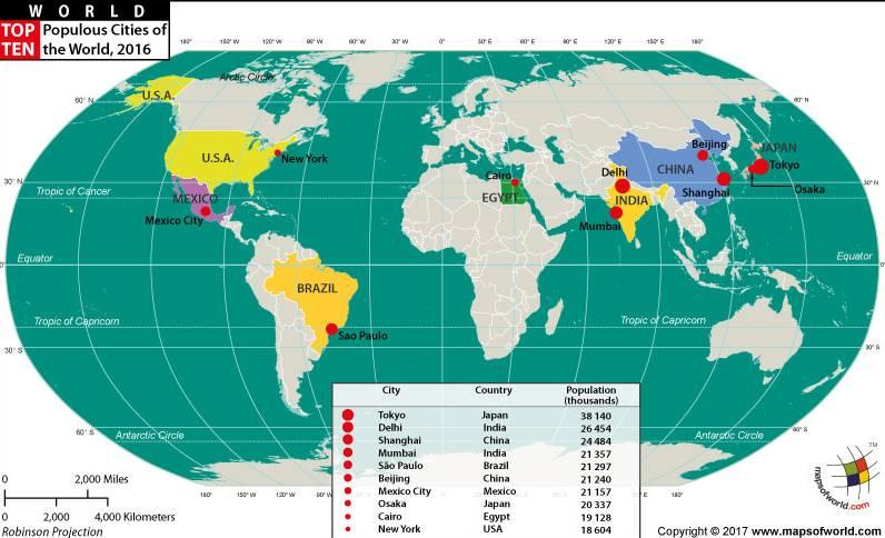 Největší města na světě na mapě světa