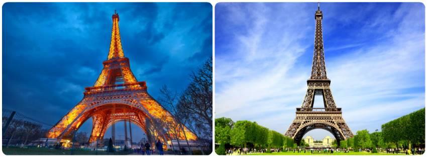 Eiffelova věž přes den i v noci na fotografii