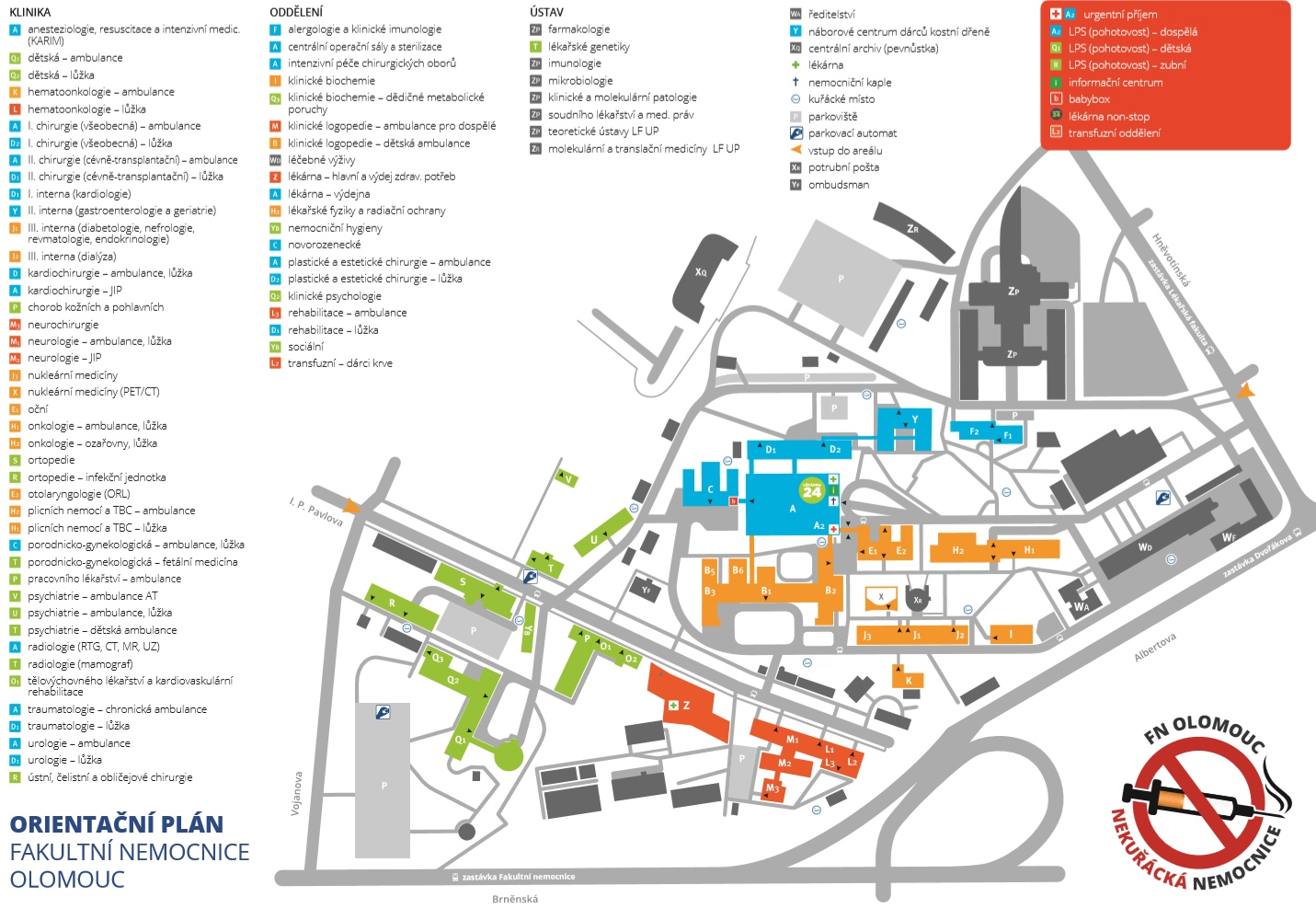 Fakultní nemocnice Olomouc mapa areálu