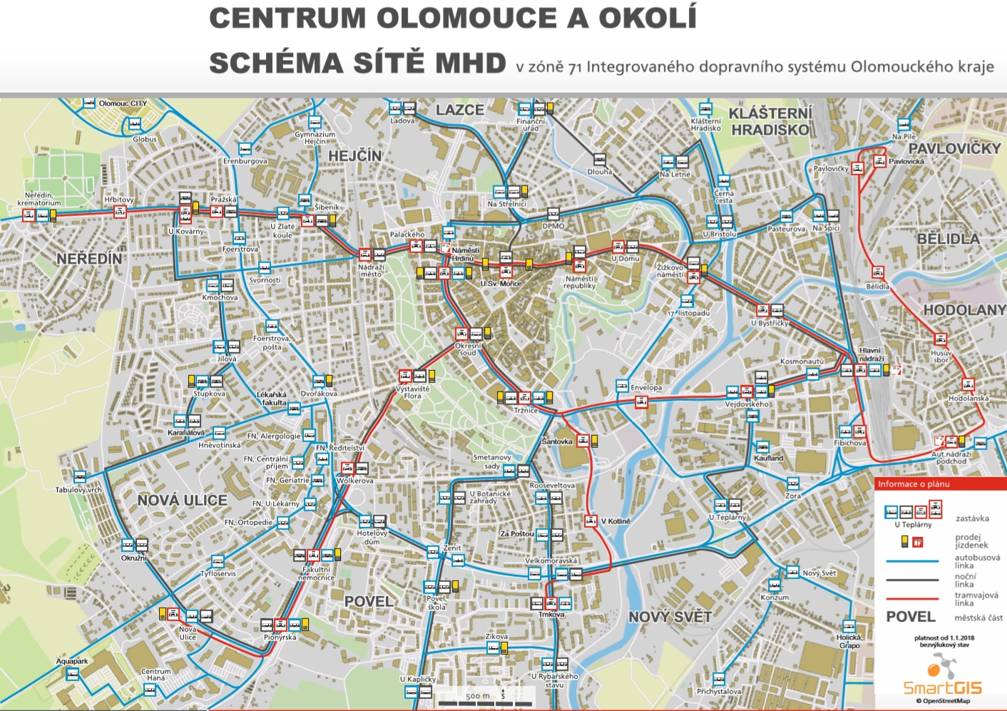 Olomouc mapa MHD městská hromadná doprava