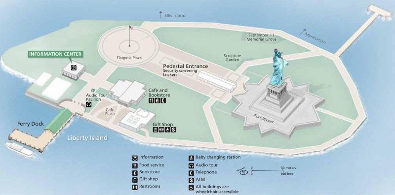 Ostrov Liberty Island kde je Socha Svobody (New York)