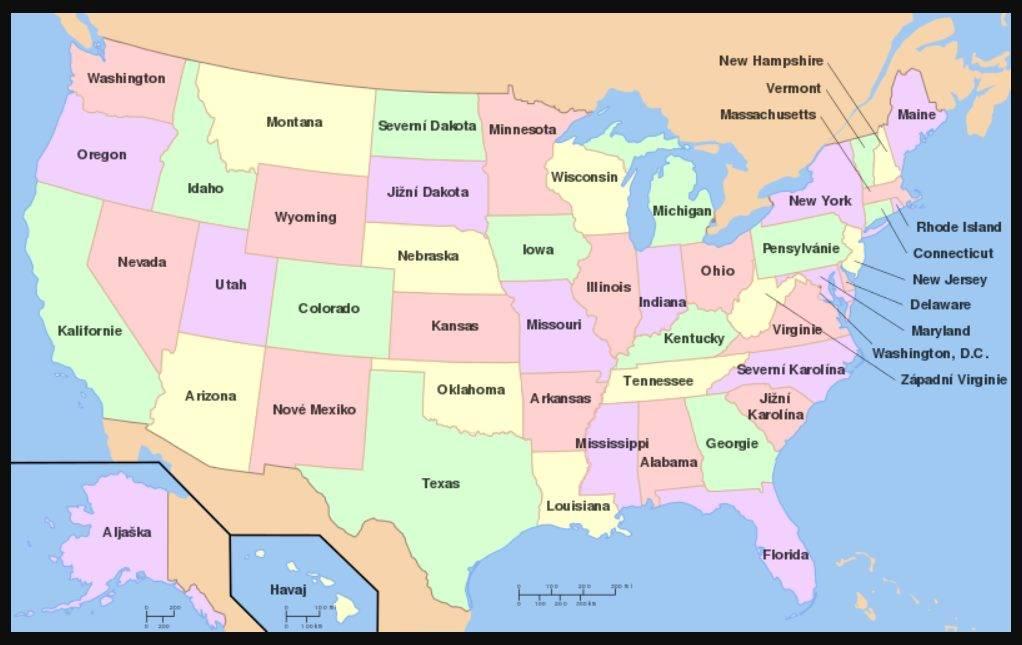 Státy USA mapa všech států na mapě