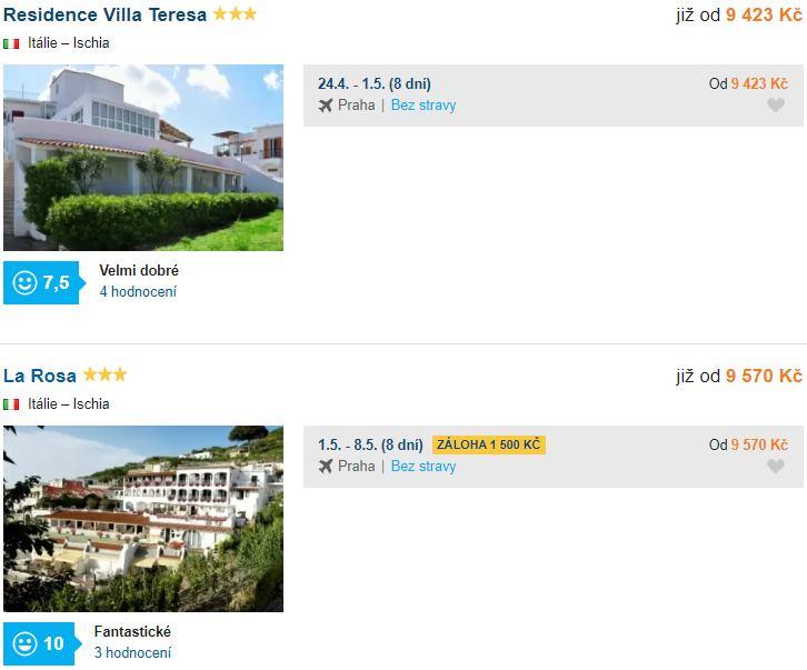 Akční pobyt Itálie bez stravování ostrov Ischia v dubnu a květnu