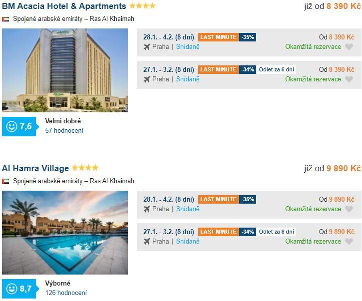 Dva akční hotely do Emirátů se snídaní leden