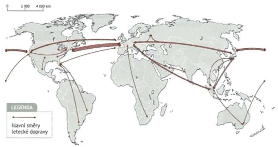 Obr. č. 6 - Hlavní trasy letecké dopravy