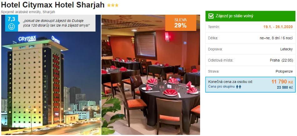 Sharjah Spojené arabské emiráty Citymax nejlevnější polopenze