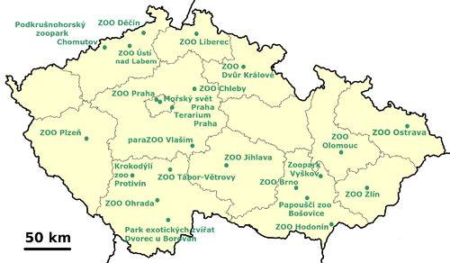 Mapa ZOO v ČR seznam