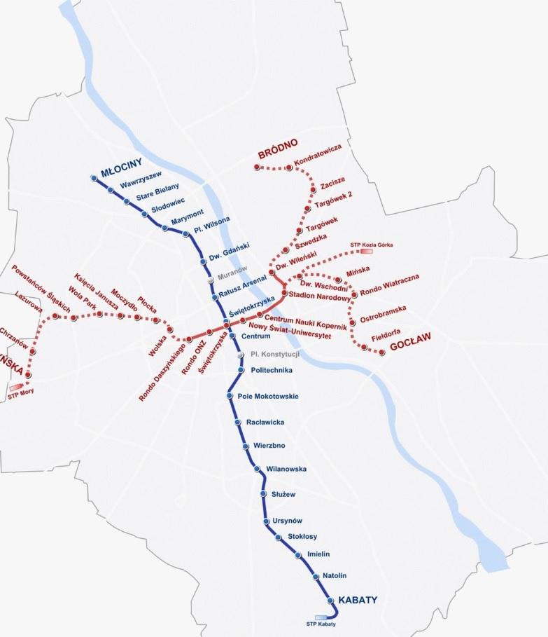 Mapa metra Varšava polsko