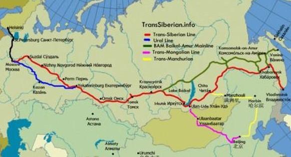 Transsibiřská magistrála mapa