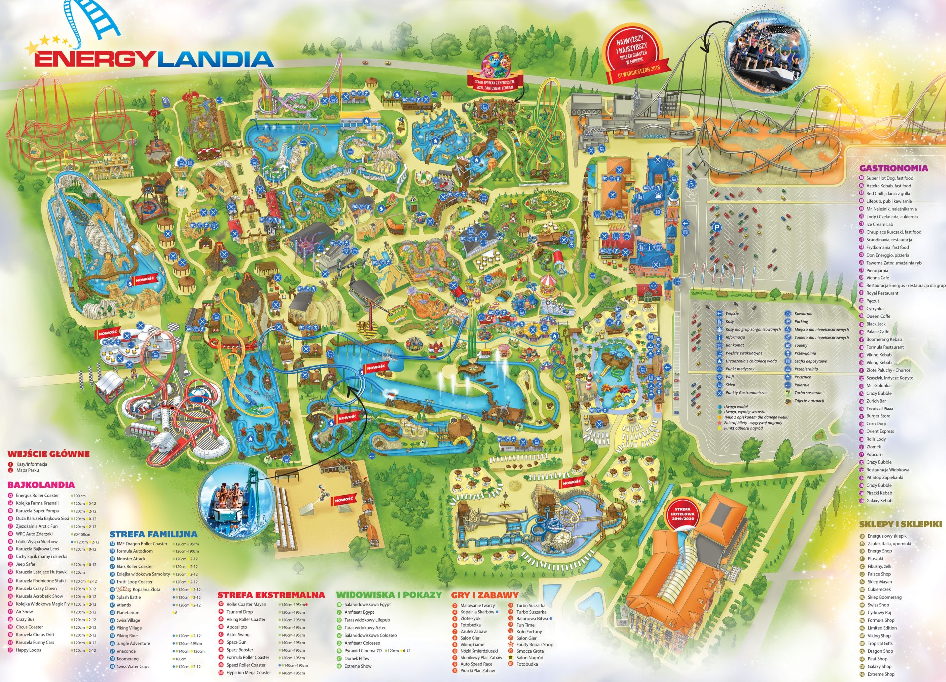 Zábavní park Energylandia Polsko mapa atrakcí