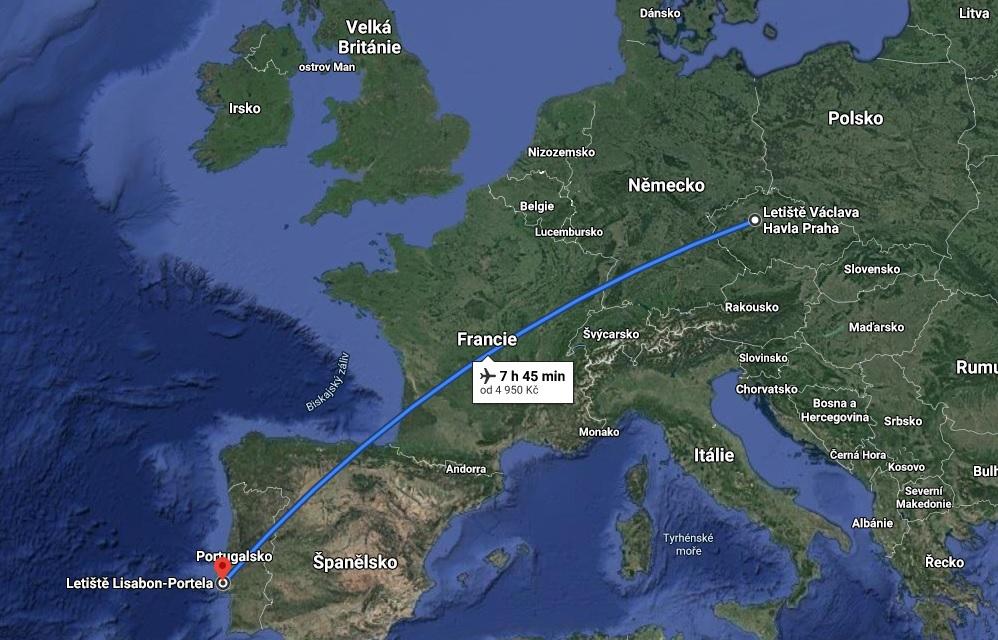 Doba letu do Portugalska a Lisabonu