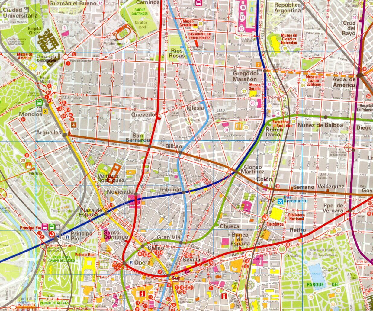 Mapa Madrid ulice a centrum