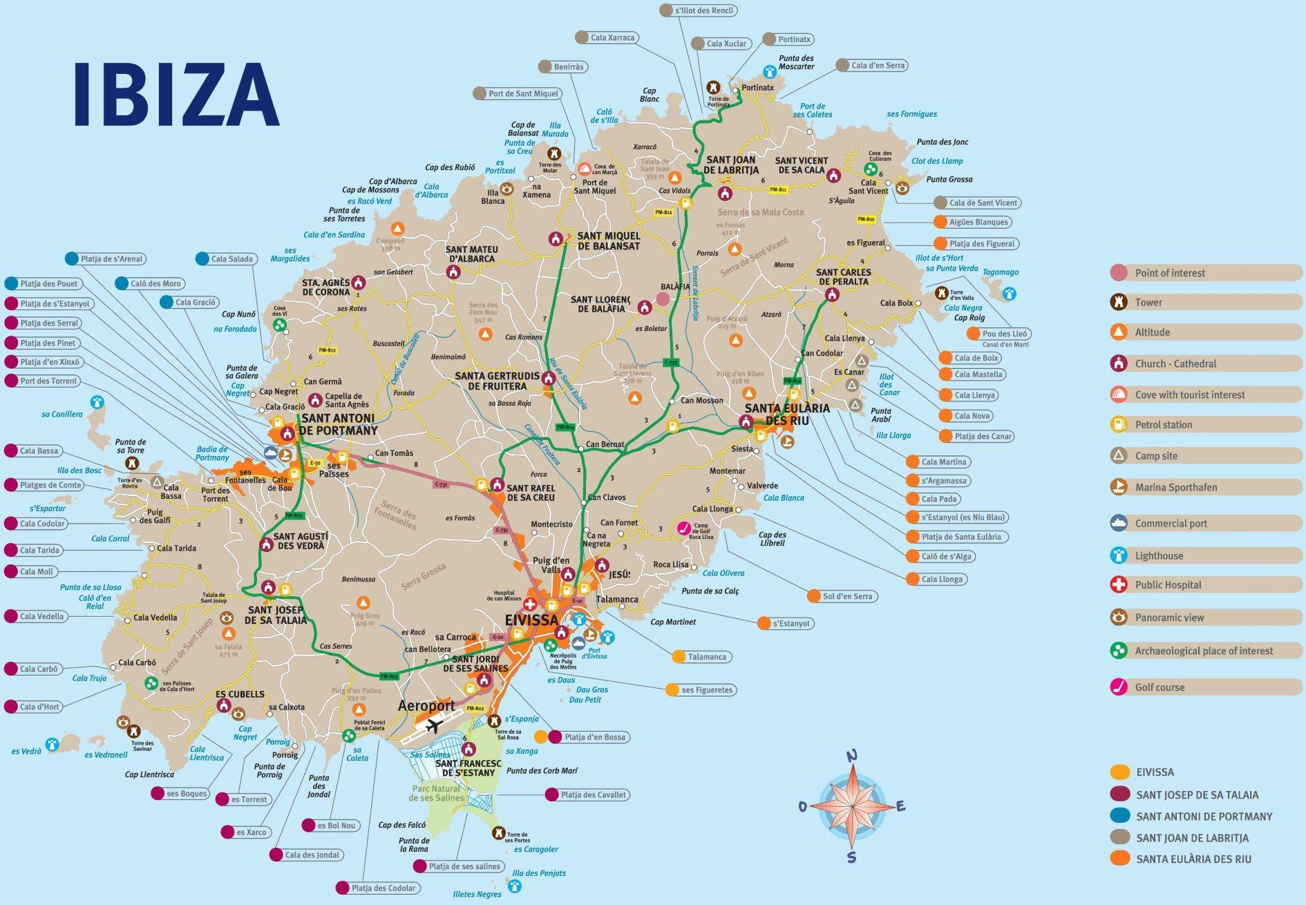 Mapa ostrova Ibiza detailní a podrobná