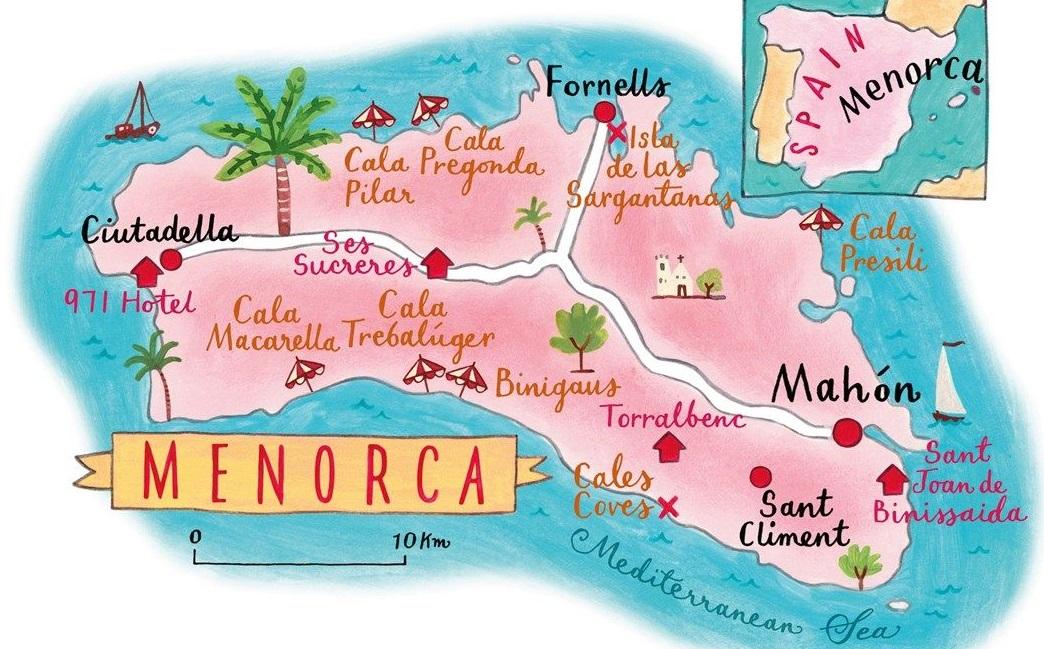 Pláže na Menorce u pobřeží ostrova