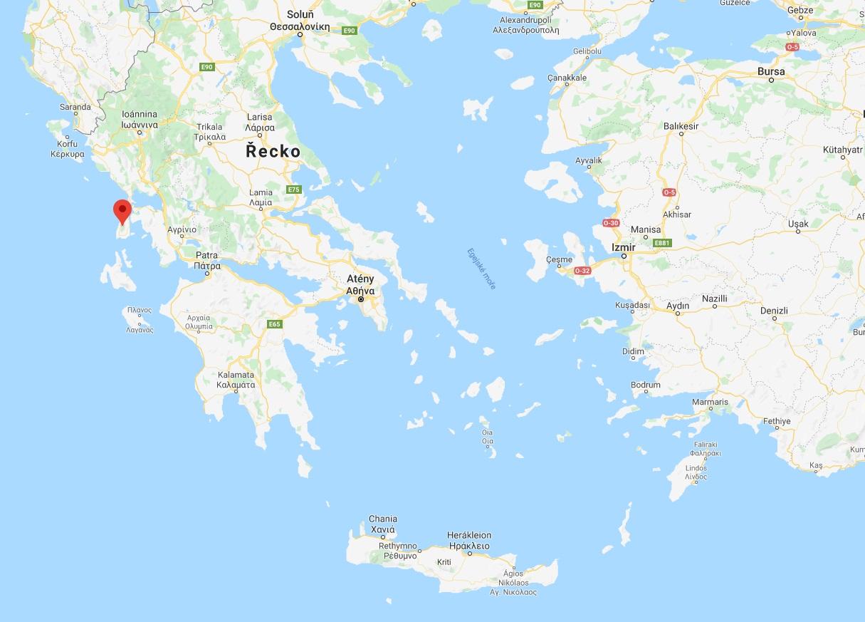 Poloha ostrova Lefkada na mapě kde leží
