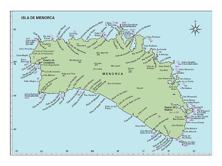 Zajímavá místa na Menorce na mapě