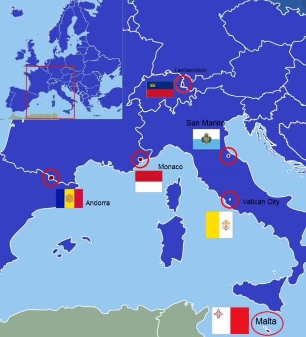 Nejmenší státy v Evropě na mapě který stát Evropy má nejmenší rozlohu